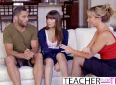Hot Teacher Tricks Students Into Threeway Fuck...