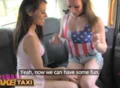 FemaleFakeTaxi lesbian pussy eating session in cab...