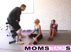 Steamy workout turns hardcore with mom and daughter...