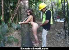 ExxxtraSmall Tree Hugging Teen Fucks Lumberjack...