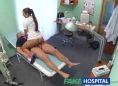 FakeHospital Hot brunette nurse gives patient some sexual healing...