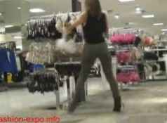 Horny Mom fucks and sucks son's big cock in public clothes shop...