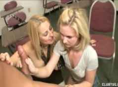 Double handjob in the classroom...