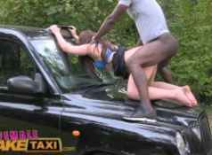 FemaleFakeTaxi Naughty cab driving chick fucks black cock in countryside...