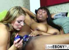 Interracial lesbian action with Aurora Snow and Carmen Hayes...