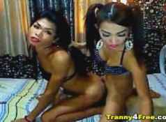 Two Horny Tranny Anal Fucked Till Cum...