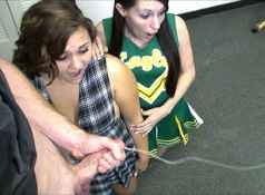 Two teens Kaci and Ashley get a messy cumshot from a bog dick...